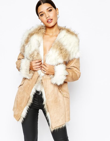 Lipsy Coat with faux fur trim and lining in stone