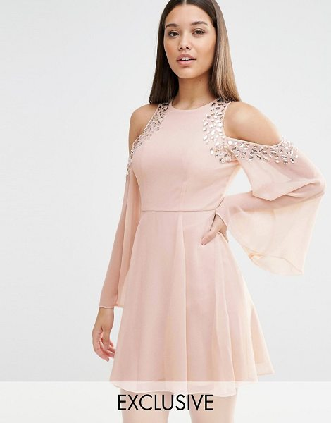 LIPSY Cold Shoulder Embellished Swing Dress in pink - Dress by Lipsy, Lined chiffon, Round neckline,...