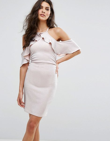 "Lipsy cold shoulder frill mini dress in pink - """"Dress by Lipsy, Glitter fabric, High neck,..."