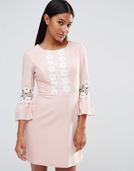 "Lipsy Daisy Trim Shift Dress in pink - """"Dress by Lipsy, Lined woven fabric, Round neckline,..."