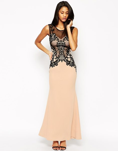 Lipsy Embellished lace built up maxi dress in nude - Maxi dress by Lipsy Smooth scuba fabric Mesh overlay...