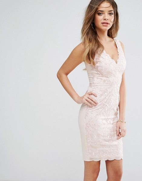 "Lipsy embroided bodycon dress in nude - """"Dress by Lipsy, Lightweight woven fabric, Embroidered..."