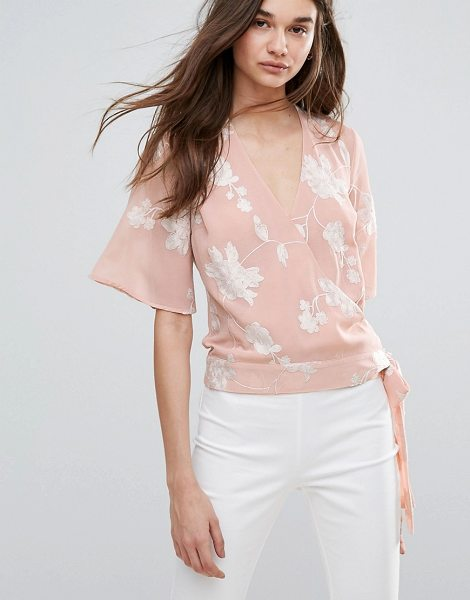 "Lipsy Embroided Wrap Front Blouse in pink - """"Blouse by Lipsy, Lightweight woven fabric, V-neck,..."