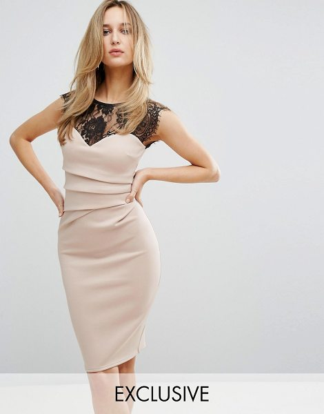 """Lipsy Eyelash Lace Bodycon Dress in pink - """"""""Dress by Lipsy, Smooth stretch fabric, Sheer lace..."""