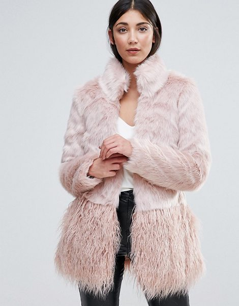"LIPSY Faux Fur Paneled Coat - """"Coat by Lipsy, Soft-touch faux-fur, Lined design,..."