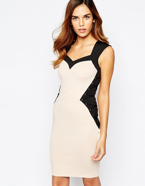 Lipsy Illusion waist body-conscious dress with lace up detail in nude