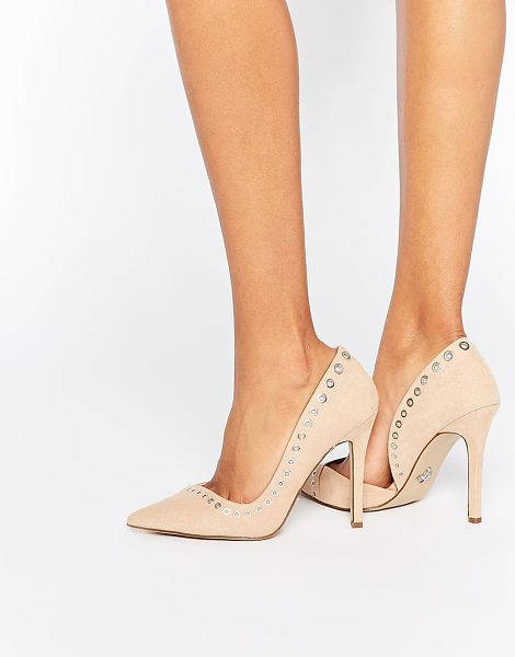 LIPSY Lacey Rivet Heeled Pumps in beige - Heels by Lipsy, Suede-look upper, Pointed toe, Rivet...