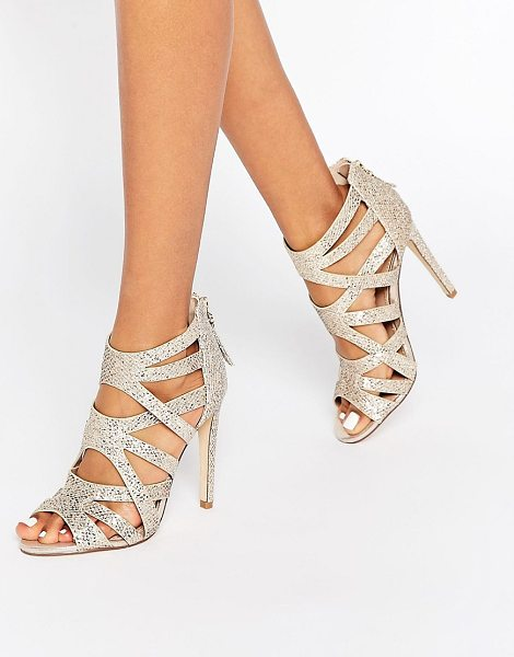 Lipsy Margot Gold Glitter Caged Heeled Sandals in gold