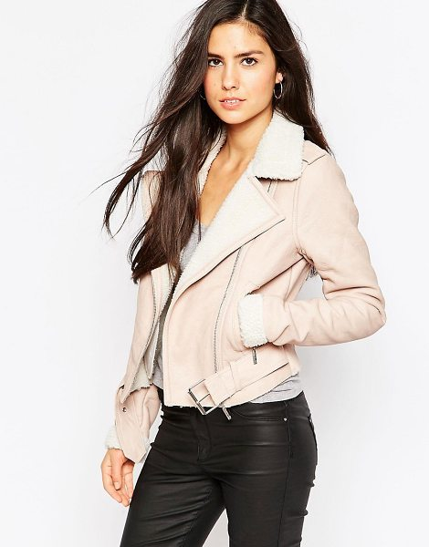 Lipsy Michelle keegan loves  biker jacket with borg trim in brown - Jacket by Lipsy, Smooth leather-look outer, Point...