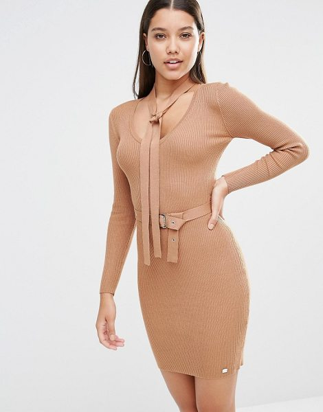 "Lipsy Michelle Keegan Loves  Button Up Sweater Dress With Neck Tie in brown - """"Dress by Lipsy, Ribbed knit, V-neckline, Detachable..."