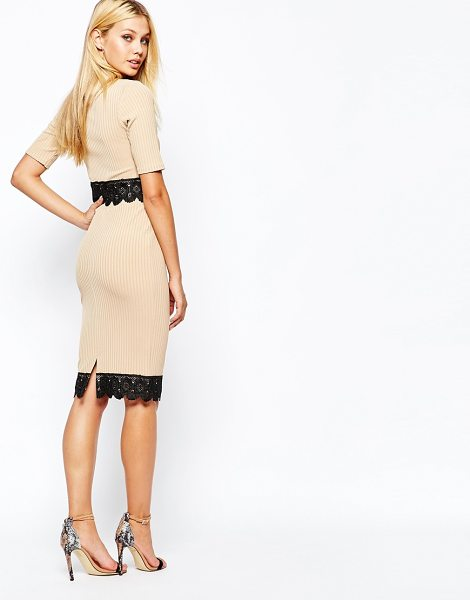 Lipsy Michelle keegan loves  ribbed pencil skirt with lace hem in nude - Pencil skirt by Lipsy Ribbed knit Contrast lace hem Kick...