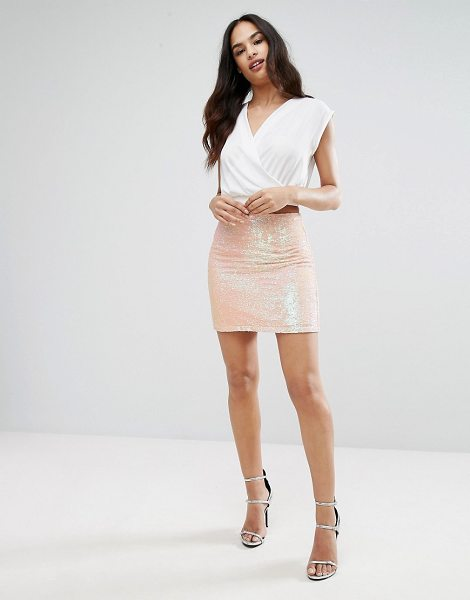 "Lipsy Mini Skirt In Sequin in pink - """"Mini skirt by Lipsy, Sequin embellished fabric,..."