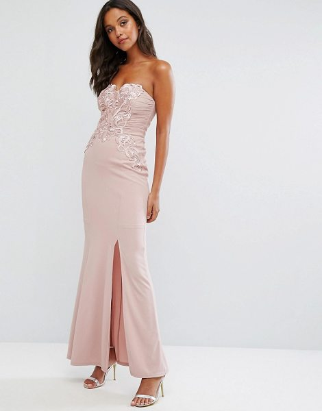 "LIPSY Nude Bandeau Maxi Dress with Waxed Lace Detail - """"Maxi dress by Lipsy, Smooth woven fabric, Bandeau..."