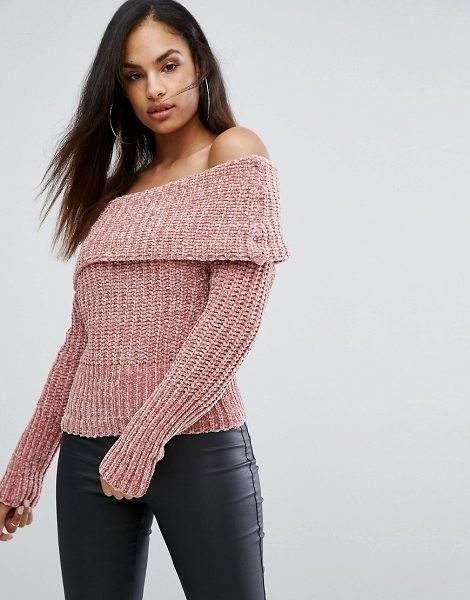LIPSY Off Shoulder Sweater In Chenille - Sweater by Lipsy, Textured knit, Off-shoulder neck,...
