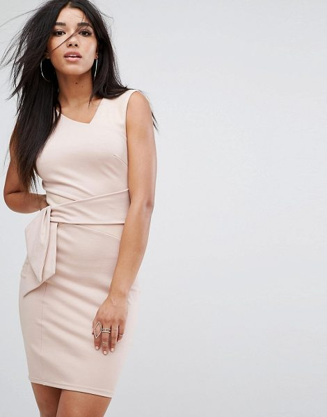 Lipsy panel mini dress with suedette detail in nude