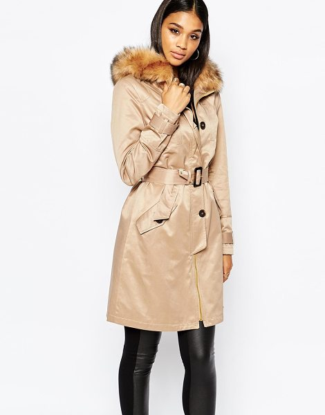 Lipsy Parka trench with faux fur collar in stone - Trench by Lipsy Soft-touch woven fabric Fully lined...