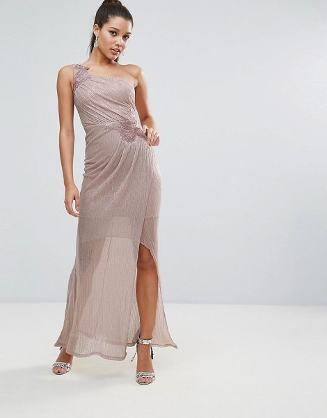 "Lipsy Foil Mini Dress with Lace Trim in nude - """"Dress by Lipsy, Stretch woven fabric, Metallic thread..."