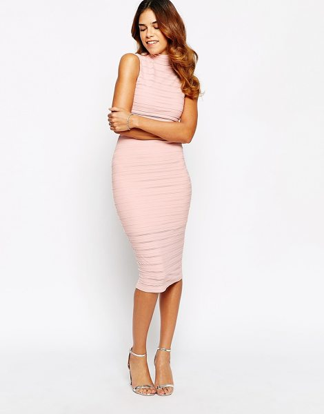 Lipsy Sheer paneled high neck body-conscious dress in nude - Dress by Lipsy Soft touch, textured fabric High neckline...