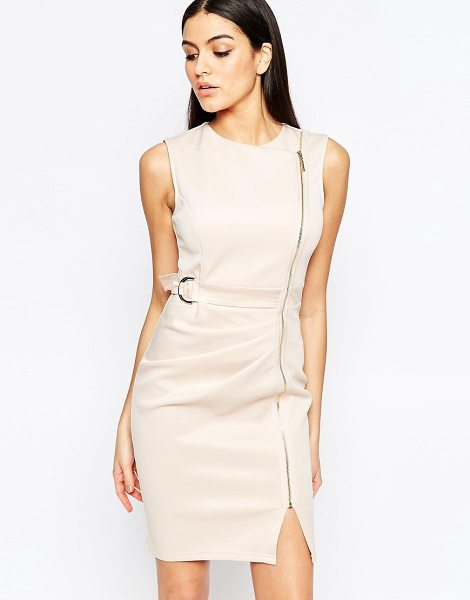 Lipsy Shift Dress with Zip Detail in beige - Evening dress by Lipsy, Woven fabric gold-tone hardware,...