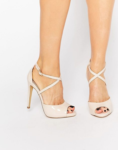 Lipsy Vernetta Nude Patent Cross Strap Heeled Sandals in beige - Sandals by Lipsy, Faux-leather upper, Patent finish,...