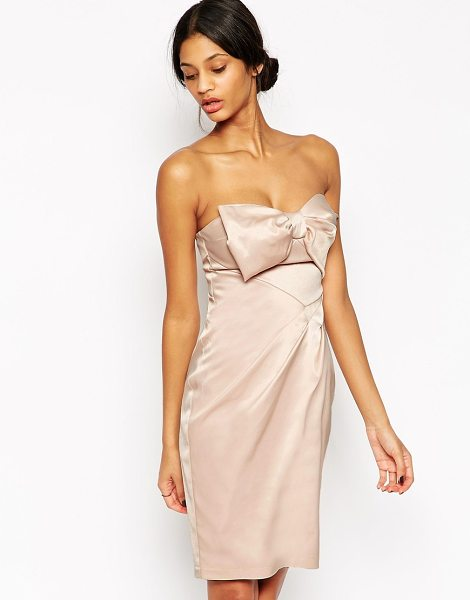 "Lipsy Vip Bandeau Pencil Dress With Bow in pink - """"Pencil dress by Lipsy, Smooth fabric, Silky-feel..."