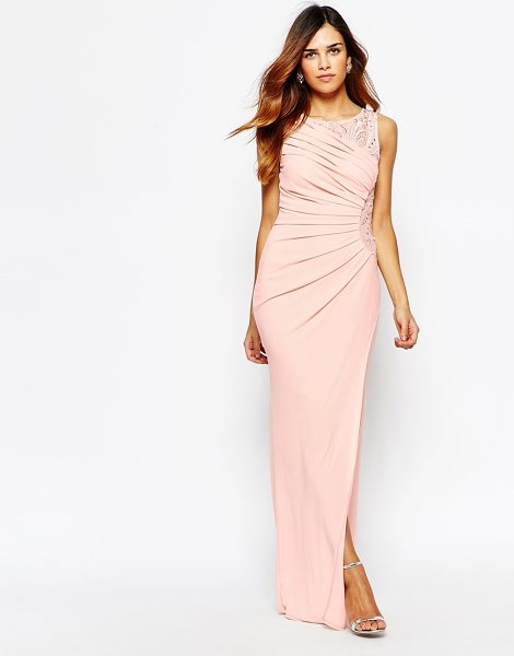 Lipsy Vip Embellished maxi dress with ruched detail in neutral - Maxi dress by Lipsy Lined woven fabric Round neckline...