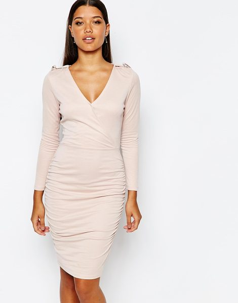 Lipsy Wrap Front Slinky Body-Conscious Dress in pink - Evening dress by Lipsy, Soft-touch, slinky jersey, Deep...