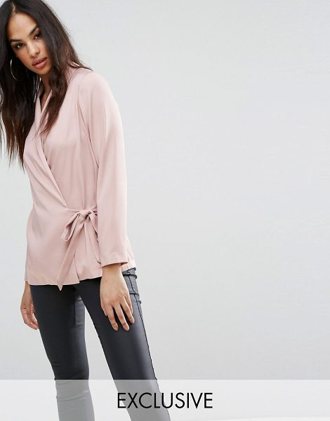 Lipsy Wrap Satin Blouse in pink - Blouse by Lipsy, Woven satin, Wrap front, Self-tie...