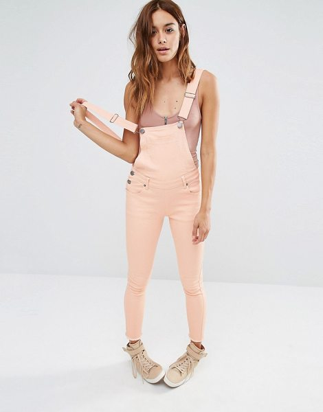 Liquor N Poker Liquor & Poker Skinny Fit Cropped Overalls in pink - Overalls by Liquor N Poker, Firm stretch denim, Low...