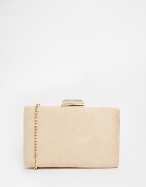 Liquorish Box clutch bag with jewel clasp in beige - Cart by Liquorish Suede-style outer Structured box...