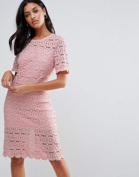 "Liquorish Floral Lace Pencil Dress in pink - """"Evening dress by Liquorish, Lined lace, Scoop neck,..."
