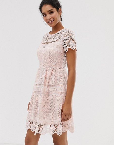 Liquorish lace overlay mini dress with open back detail in pink