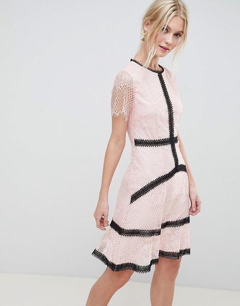 Liquorish lace skater dress with contrast trim in pink - Dress by Liquorish, For a look as lit as your plans,...