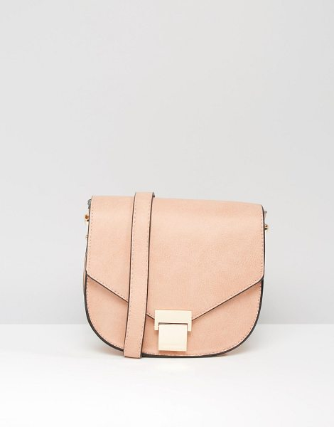 Liquorish Saddle Cross Body Bag in pink - Cart by Liquorish, Faux leather outer, Gold-tone...