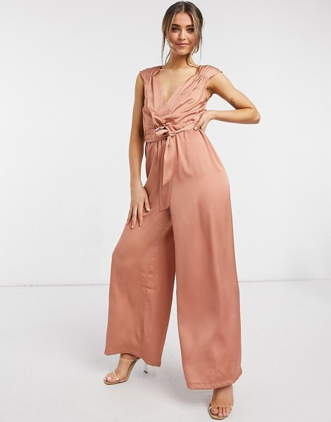 Liquorish sleeveless jumpsuit in earthy pink in pink