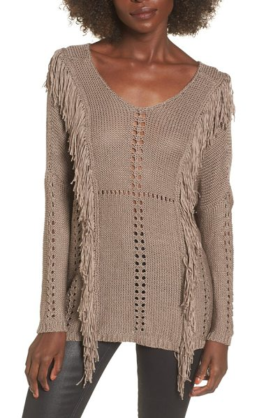 Lira Clothing enya fringe sweater in mocha - Shaggy fringe trim intensifies the easygoing '70s...