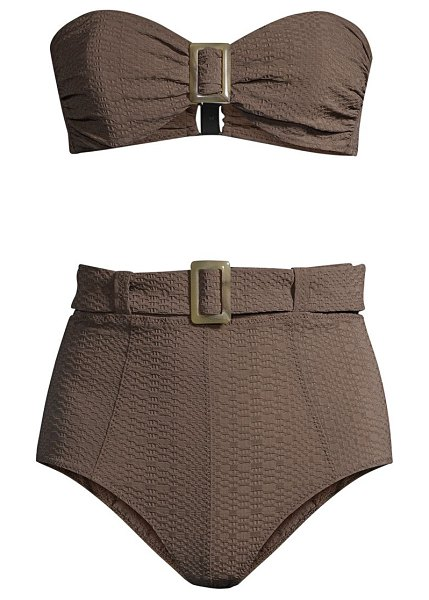 Lisa Marie Fernandez 2-piece buckle bandeau bikini set in chocolate