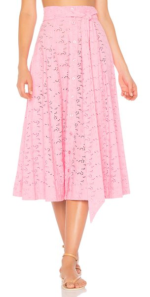 Lisa Marie Fernandez Beach Skirt in pink eyelet - 100% cotton. Dry clean only. Unlined. Button front...