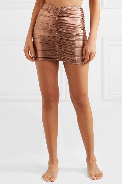 Lisa Marie Fernandez ruched metallic swim skirt in bronze