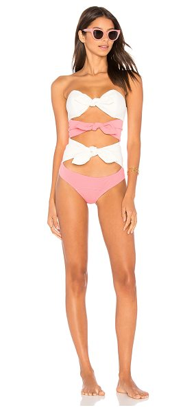 Lisa Marie Fernandez Triple Poppy One Piece in pink - 85% nylon 15% elastane. Hand wash cold. Front tie...