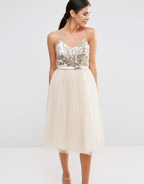 LITTLE MISTRESS Bandeau Skater Dress With Sequin Body - Dress by Little Mistress, Lied sequinned bodice, Bandeau...
