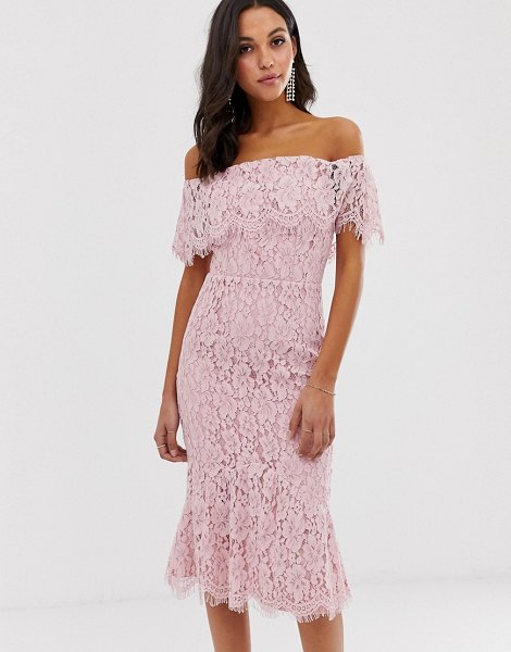 Little Mistress bardot all over lace midi dress-pink in pink