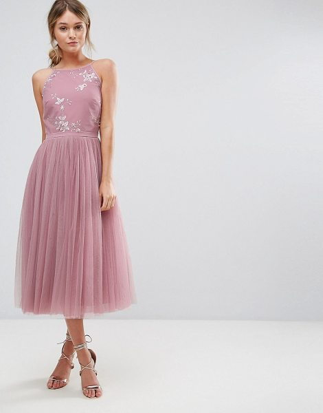 Little Mistress Beaded Midi Dress With Tulle Skirt Nudevotion