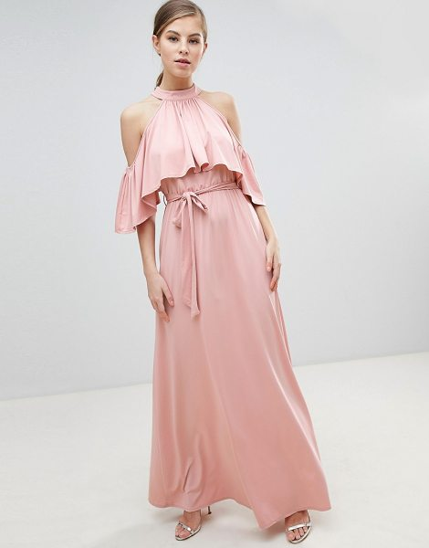 Little Mistress belted maxi dress with frill overlay-pink in pink