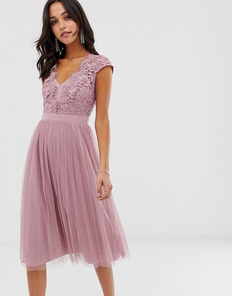 Little Mistress capped sleeve lace midi dress with tulle skirt-pink in pink