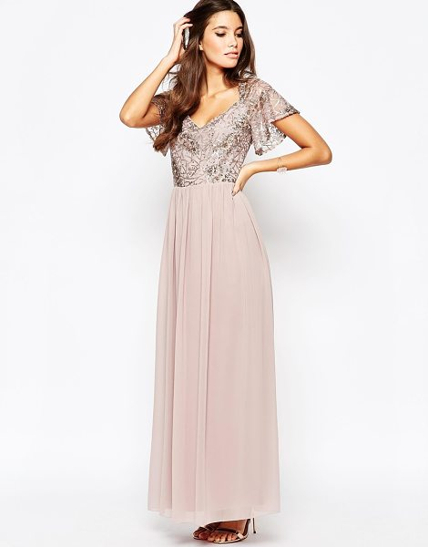 LITTLE MISTRESS Chiffon Maxi Dress With Sequin Top And Fluted Sleeve - Maxi dress by Little Mistress, Semi-sheer chiffon, Lined...