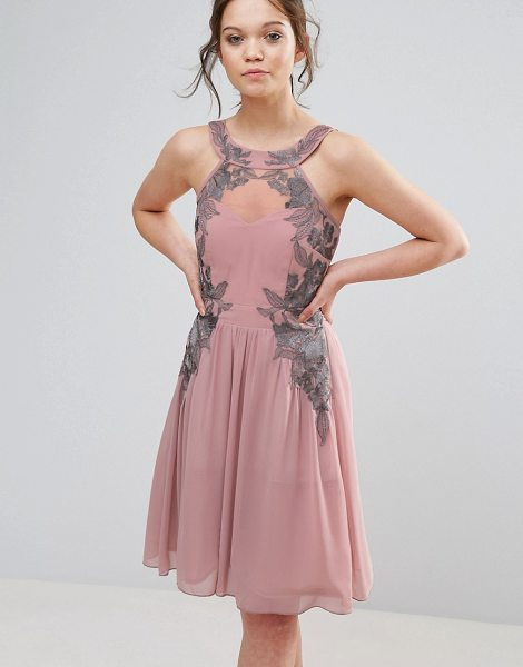 Little Mistress chiffon skater dress with embellished detail in rose - Dress by Little Mistress, Unlined yoke, Sleeveless cut,...