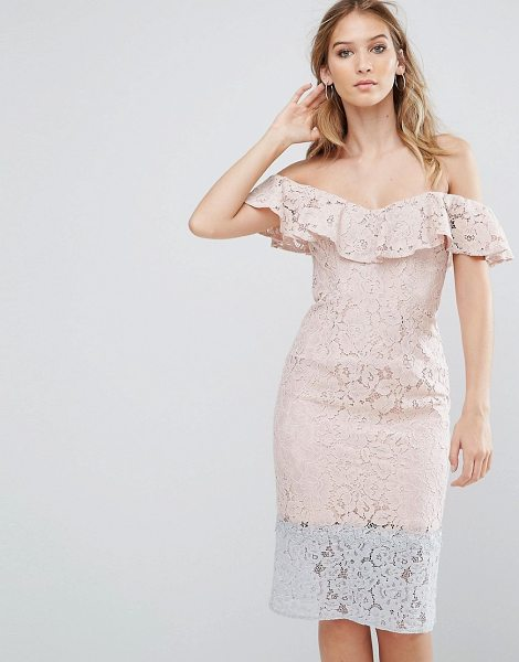 "Little Mistress color block lace dress with frill overlay in pink - """"Lace dress by Little Mistress, Lightweight lace,..."