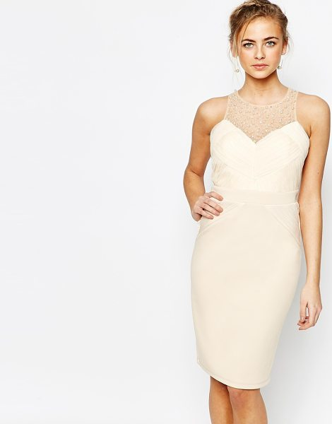 """Little Mistress Embellished Pencil Dress with Pleated Mesh in cream - """"""""Pencil dress by Little Mistress, Pleated mesh bodice,..."""