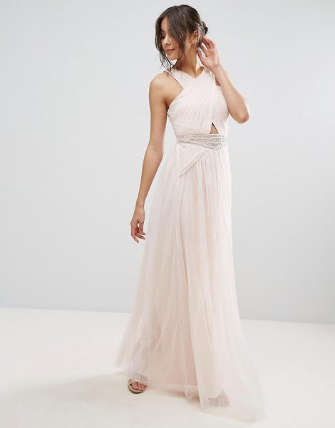 "Little Mistress Embellished Waist Maxi Dress in beige - """"Maxi dress by Little Mistress, Lightweight mesh, Fully..."